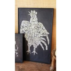 Rooster Collage Wall Art Wood/Metal/Paint © Twos Company