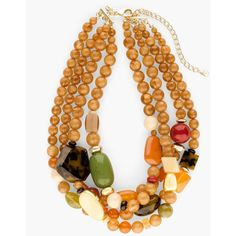 Chico's Kalani Short Multi-Strand Necklace ($69) ❤ liked on Polyvore featuring jewelry, necklaces, multi, beaded necklaces, multicolor bead necklace, double layer necklace, multi color beaded necklace and layered chain necklace