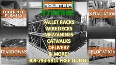 Call us today for a free quote on our outstanding industrial racking systems, materials, and services. We fabricate our own and ready to start on your order today ! 909-793-5914 www.industrialstoragesolutionsinc.com