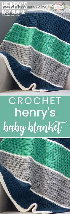 Crochet this easy beginner friendly striped boys baby blanket from Little Monkeys Crochet from my crochet baby blankets for boys free pattern roundup!