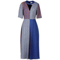 Roksanda Ilincic 3/4 Length Dress ($1,408) ❤ liked on Polyvore featuring dresses, slate blue, short sleeve v neck dress, blue flannel dress, roksanda ilincic, blue short sleeve dress and v neck dress