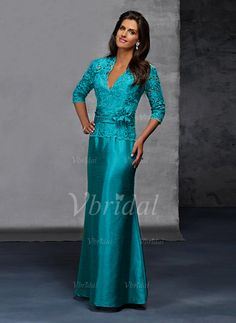 Mother of the Bride Dresses - $151.86 - Trumpet/Mermaid V-neck Floor-Length Taffeta Mother of the Bride Dress With Lace Beading Flower(s) (00805006721)