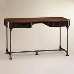One of my favorite discoveries at WorldMarket.com: Wood and Metal Industrial-Style Desk