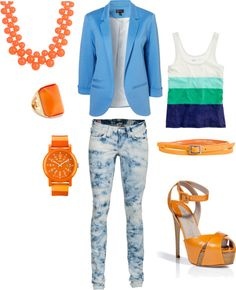 Acid wash jeans with orange accents, created by kbcech on Polyvore