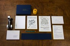 Perky Bros LLC: Peter and Reid Wedding Invitation. Hand-lettering and let­ter­press print­ing by Rohner Letterpress.