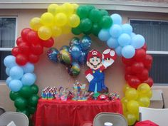 fiesta de mario bros....... Wii Party, Nintendo Party, Sonic Party, Super Mario Party, 1st Birthday Party For Girls, Super Mario Birthday, Mario Birthday Party, Super Mario Bros, Mario Crafts
