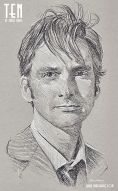 'Ten' (Doctor Who - Charcoal) Presenting your Tenth Doctor - the fantastic David Tennant! - by James Hance
