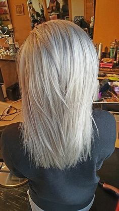 Our stylist Tori has mastered the platinum ice to silver hair color. The first picture is natural daylight, second picture is with a camera flash. White Blonde Hair, Blonde Hair Shades, Platinum Blonde Hair, Haircut For Thick Hair, Cut My Hair, Long Hair Cuts, Medium Hair Styles, Short Hair Styles, Strawberry Blonde Hair Color