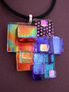 DICHROIC FUSED GLASS  PENDANT- TL GALLEGO