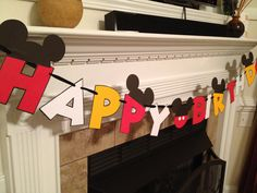 Mickey Mouse Happy Birthday Banner in Red by PicturePerfectParty, $20.00