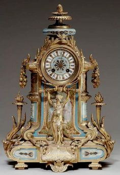 Late Century French Gilt Bronze and Sevres Style Porcelain Mounted Mantel Clock Clock Antique, French Clock, Clock Shop, Retro Clock, Mantel Clocks, Cool Clocks, Time Clock, Grandfather Clock, Antique Watches