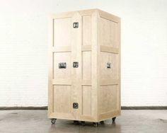 The Crates include a fold out workstation, a wardrobe closet, a bookshelf, a kitchen, a bedroom and others.