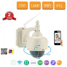 720P PTZ Wifi IP Camera Outdoor Waterproof ONVIF Speed Dome Camera Wireless 5x Zoom Home Surveillance 1MP WIFI CCTV Camera Dome Camera, Ip Camera, Picture Storage, Cctv Security Systems, App Support, Home Surveillance, Cmos Sensor, Sd Card, Wifi