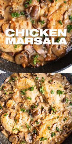 Chicken Mushroom Marsala, Marsala Mushrooms, Italian Chicken Dishes, Classic Italian Dishes, Chicken Thigh Recipes, Recipe Chicken, Baked Chicken, Keto Chicken, Healthy Chicken