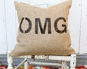 OMG Burlap Pillow $38 #chevron #zigzag