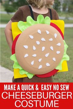 Make a Quick No Sew Cheeseburger Costume with our easy tutorial. #halloweencostume #burgercostume