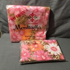 Cannon Monticello Twin Flat Sheet Matching Pillowcases VTG NIP Pink Floral Aloha #Cannon #Shabby