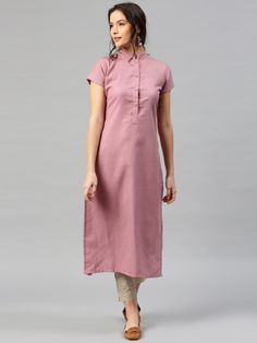 Buy Libas Women Mauve Solid Straight Kurta online in India at best price.Mauve solid straight kurta , has a mandarin collar with shrot button placket, short sleeve, straight Simple Kurti Designs, Kurta Designs Women, Kurti Neck Designs, Salwar Designs, Kurti Designs Party Wear, Blouse Designs, Dress Designs, Mauve, Kurti Embroidery Design