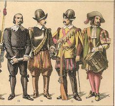 TRAJES Y ARMAS ( SIGLO XVII ) DE LA HISTORIA DE ESPAÑA.- 1600 A 1650.--nº 13.- Letrado.- nº 14 Y 15 .- Arcabuzeros.- nº 16.- Tambor de Guardias.