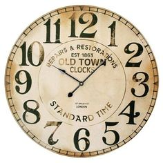 Antique-inspired wood wall clock with a weathered finish.Product: Wall clock Construction Material: MDF Color: Weathered black and ivory Accommodates: AA Batteries - not included Dimensions: 23 Diameter Big Clocks, Cool Clocks, Old Town Clock, Clock Face Printable, Wooden Clock, House Wall, Rustic Design, Design Design, Joss And Main