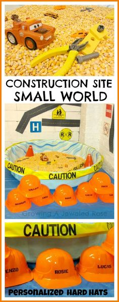 Create a construction site small world that kids can actually GET INTO! This activity uses a small play pool and other frugal materials and my kids LOVED it! Would be fun preschool birthday party Sensory Bins, Sensory Activities, Sensory Play, Activities For Kids, Construction Birthday Parties, Construction Theme, Construction Materials, Play Pool, Kid Pool