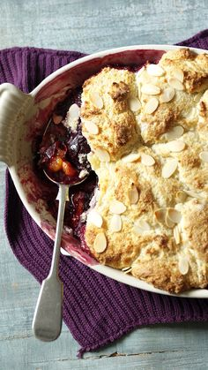 The damson season is short, so make the most of it. Throw those tart little plums under a blanket of soft, cakey cobbler. Then see who gets the most stones for luck! Plum Recipes, Drink Recipes, Fall Recipes, Cooking Recipes, Cobbler Topping, Christmas Foods, Pavlova, Quiches, No Bake Desserts