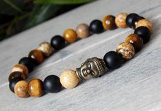 Mens Buddha Bracelet with Black Agate, Tiger Eye and Picture Jasper Gemstone Bracelets, Bracelets For Men, Black Agate, Black Onyx, Matte Black, Buddha Beads, Tiger Eye Bracelet, Art Plastique, Metal Beads