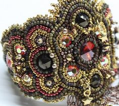 Detailed Bead Embroidery Bracelet