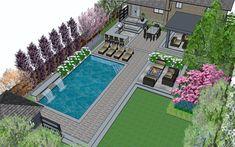 Backyard Pool Landscaping, Backyard Patio Designs, Small Backyard Landscaping, Swimming Pools Backyard, Swimming Pool Designs, Backyard Ideas, Small Backyard With Pool, Small Inground Pool, Backyard Privacy