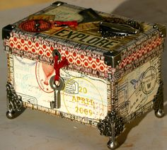 Explore - Made With Memories Cigar Box Projects, Cigar Box Crafts, Scrapbook Box, Scrapbooking, Shadow Box, Cigar Box Art, Altered Cigar Boxes, Decoupage Box, Pretty Box