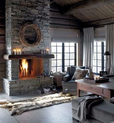 Find images and videos about home, design and interior on We Heart It - the app to get lost in what you love. Rustic Style, Rustic Decor, Cabin Fireplace, Chalet Design, Lodge Style, Lodge Decor, Land Scape, Foyer, Sweet Home