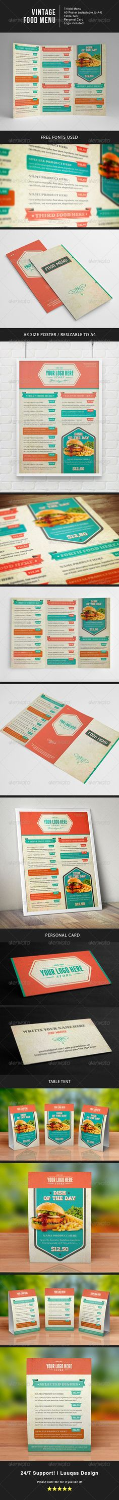 Buy Vintage Food Menu by luuqas on GraphicRiver. Food Menu template for restaurant with a retro image! Features: Trifold menu Menu Poster (Resizable to Tabl. Food Menu Template, Restaurant Menu Template, Restaurant Menu Design, Restaurant Recipes, Menu Templates, Vintage Menu, Vintage Recipes, Vintage Food, Menu Flyer
