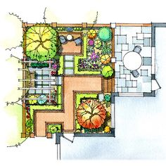 Step-by-Step Patio Planning - Patio, Plan Your Plantings-Trees, flowers, and shrubs help a patio blend into the rest of the garde - Landscape Architecture Drawing, Landscape Design Plans, Garden Design Plans, Landscape Drawings, Patio Design, Small Garden Plans, Landscaping Supplies, Backyard Landscaping, Landscaping Ideas