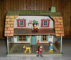 Vintage Mickey Mouse and Friends Tin Litho Dollhouse w Characters by ...