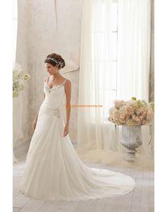 Salle intérieure Traîne moyenne Sans manches Robes de mariée 2014