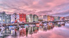 Travel, Norway Trondheim Old Town Harbor Sunrise R Alesund, Lofoten, Stavanger, Trondheim Norway, Tromso, Jotunheimen National Park, Norway Tours, Beautiful Scenery Pictures, Packing For Europe