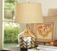 Etched Fern Mercury Glass Table Lamp #potterybarn. This is beautiful. Can anyone figure out a way to copy?