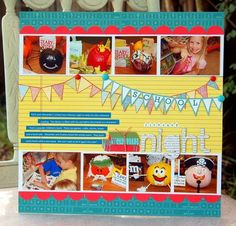 lots of banners or add another row of photos for a child's collection of toys or books scrapbook layout