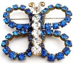 Signed Marie Ferra Butterfly Brooch Sapphire Blue Rhinestone Figural Vintage Pin #MarieFerra #Butterfly