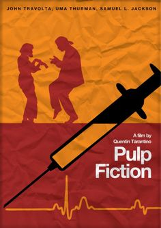 Pulp Fiction - Minimalist poster featuring Mia and Vincent dancing and a syringe… Best Movie Posters, Minimal Movie Posters, Minimal Poster, Film Posters, Quentin Tarantino Pulp Fiction, Gangster Movies, Vintage Music Posters, Film Theory, Alternative Movie Posters