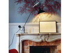 "Mantis table lamp was created in Bernard Schottlander created the ""MANTIS"" series of lamps Serge Mouille, Aluminum Uses, Black Table Lamps, Metal Bar, Gras, Black Satin, Mantis, Industrial Design, Metal Working"