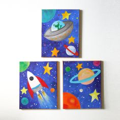 planet themed nursery | ... of 3 8x10 acrylic canvases, Space themed children's decor, nursery art