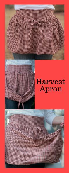 Gardening Apron, Harvest Apron, Farm Apron, Gathering Apron, Drawstring Apron, Produce, Half Apron, Craft Apron for Women, Brick Red Check #harvestapron #gardeningapron #ad