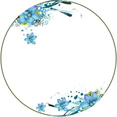 Flowers, Blue, Circle Frame New Instagram Logo, Pink Floral Background, Circle Drawing, Circle Borders, Clip Art Library, Boarders And Frames, Peach Aesthetic, Flower Circle, Photographing Kids