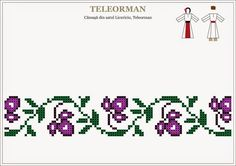Semne Cusute: cusaturi traditionale romanesti - MUNTENIA - Teleorman Cross Stitch Borders, Cross Stitch Designs, Cross Stitch Patterns, Folk Embroidery, Cross Stitch Embroidery, Embroidery Patterns, Mexican Pattern, Blackwork Patterns, Palestinian Embroidery