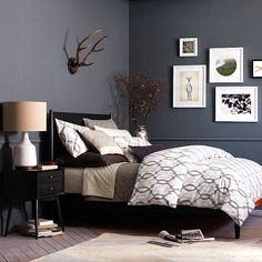 Bedroom: Elegant Bedroom Design That Using Dark Color Decoration Such A Black Bed And Dark Grey Painted Wall That Beautify With Antique Table Lamp Hartshorn Decor Hanging Above Black Headboard, apartment bedroom design, 2015 bedroom design trends ~ houzmagz.com
