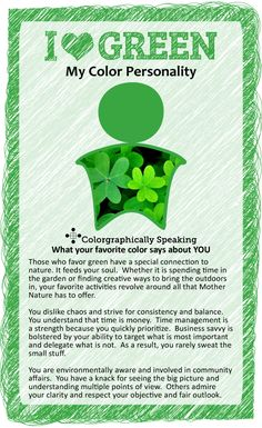 Green: Find out what your favorite color says about you in the I ♥ Color series from The Land of Color.