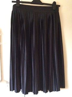 Marks And Spencer Black Metallic Pleated Skirt. Size 14  | eBay