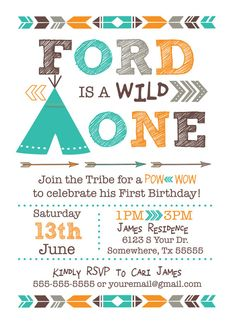 Wild One  One Year  First  Birthday TEEPEE POW by LeeshaLooDesignz