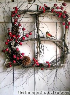 Rustic Christmas window wreath with berries and bird. (old windows from rental house) Noel Christmas, Country Christmas, Christmas Projects, Winter Christmas, Holiday Crafts, Christmas Ornaments, Outdoor Christmas, Natural Christmas Decorations, Christmas Images